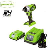 GREENWORKS 24V batterie Lithium 1/2 pouces clé à chocs 300N. m clé sans fil avec batterie et chargeur retour gratuit