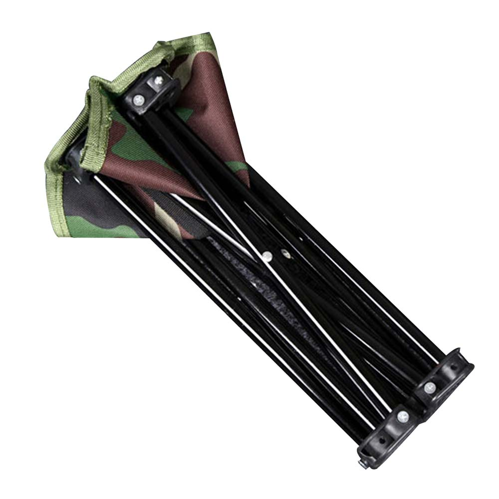 Portable Folding Stool Camouflage Folding Chair Iron Oxford Cloth Hiking Garden With Carry Bag Beach Bench Camping