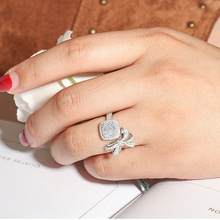 S925 Sterling Silver Anillos 2 Carats Diamond Ring for Women Bijoux Femme Bague Bowknot Homme 925 Jewelry Rings
