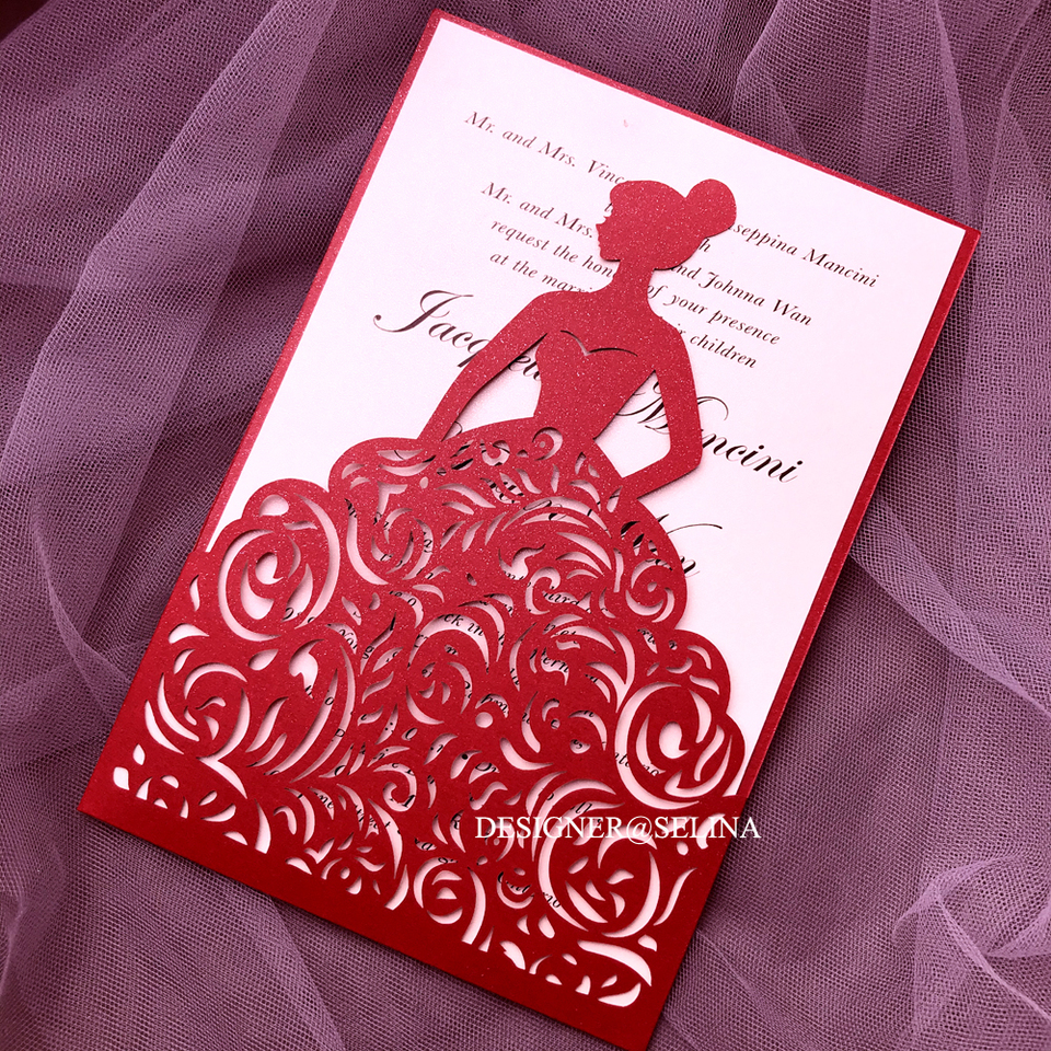 20+Rose Shimmer Wedding Invitation Personalized Printing Sweet Fifteen Invitations Birthday Party Invites with Envelop,3,blank sheet