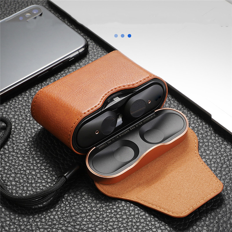 Leather Case Protective Box For Sony WF-1000XM3 Wireless Headset Earphone Full Cover Storage Magnetic Case Bag Protector