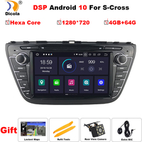 1280*720 PX6 DSP 8 4+64G Android 10 Car DVD For SUZUKI SX4 S CROSS 2013 2015 Hexa Core Radio GPS Multimedia Player Head Unit