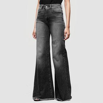 Dżinsy damskie dżinsy dla mamy dżinsy o średniej talii kobieta wysokie elastyczne plus size jeansy ze streczem kobiece sprane dżinsy luźne spodnie flare tanie i dobre opinie Poliester Pełnej długości 526567 Pani urząd Zmiękczania Zipper fly NONE Spodnie pochodni light