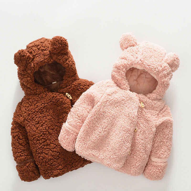 최신 도착 귀여운 유아 아기 소녀 소년 양모 코트 따뜻한 의상 솔리드 귀 후드 가을 겨울 아이 옷