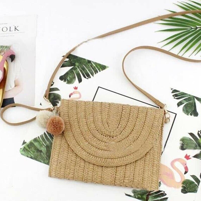 2019 New Fashion Lady Women Summer Lovely Retro Straw Knitted Handbag For Key Money Beach Long Bag Clutch