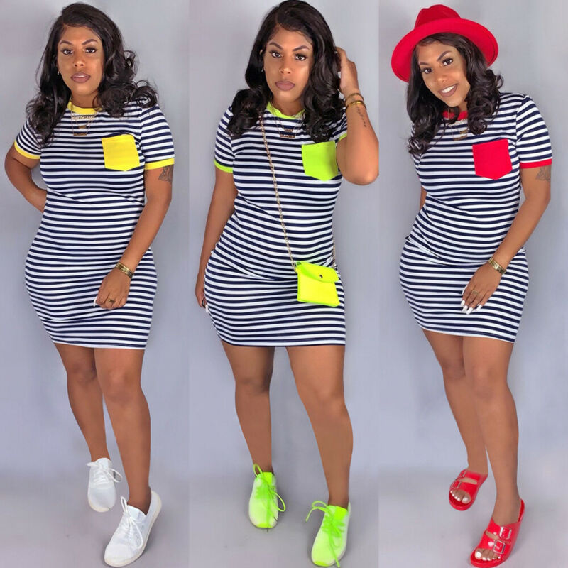 2019 Summer Casual Women O Neck Stripe Baggy Bodycon Mini Dress Ladies Leisure Short Sleeve Stripe Holiday Package Hip Dresses