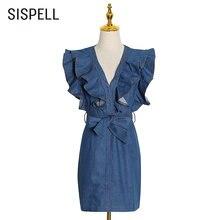Женское джинсовое платье sispell лоскутное с оборками v образным