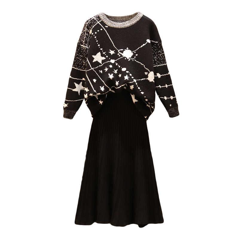 Runway kobiety jesień swetry z dzianiny czarny 2 sztuka zestaw w stylu Vintage gwiaździste niebo żakardowe swetry Top + spódnica z dzianiny dwuczęściowy zestaw garnitur