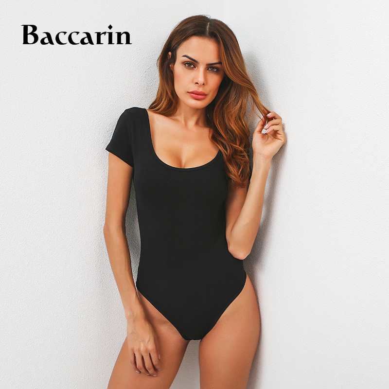 <font><b>2018</b></font> Summer 95% Cotton Backless Bodysuit <font><b>Women</b></font> Short Sleeve <font><b>Sexy</b></font> Bodysuit White/Black Bodycon Bodysuit <font><b>Jumpsuit</b></font> Overall image