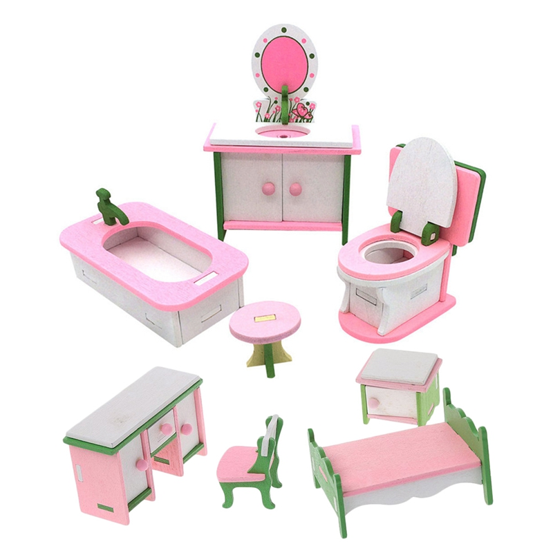 US $7.77 7% OFF7 Set Baby Wooden Dollhouse Furniture Dolls House  Miniature Child Play Toys Gifts, 7 Set No.7 & 7 Set No.70Doll Houses -  AliExpress