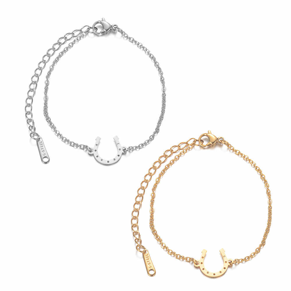 AAAAA Quality 100% Stainless Steel Lucky Horseshoe Charm Bracelet for Women Female Never Tarnish Jewelry Bracelets