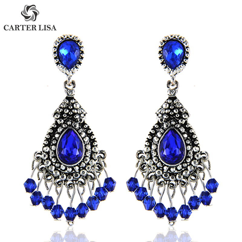 CARTER LISA Blue/Silver Color Chandelier Crystal Long Earrings For Women Rhinestone Hanging Earrings Bridal Wedding Jewelry