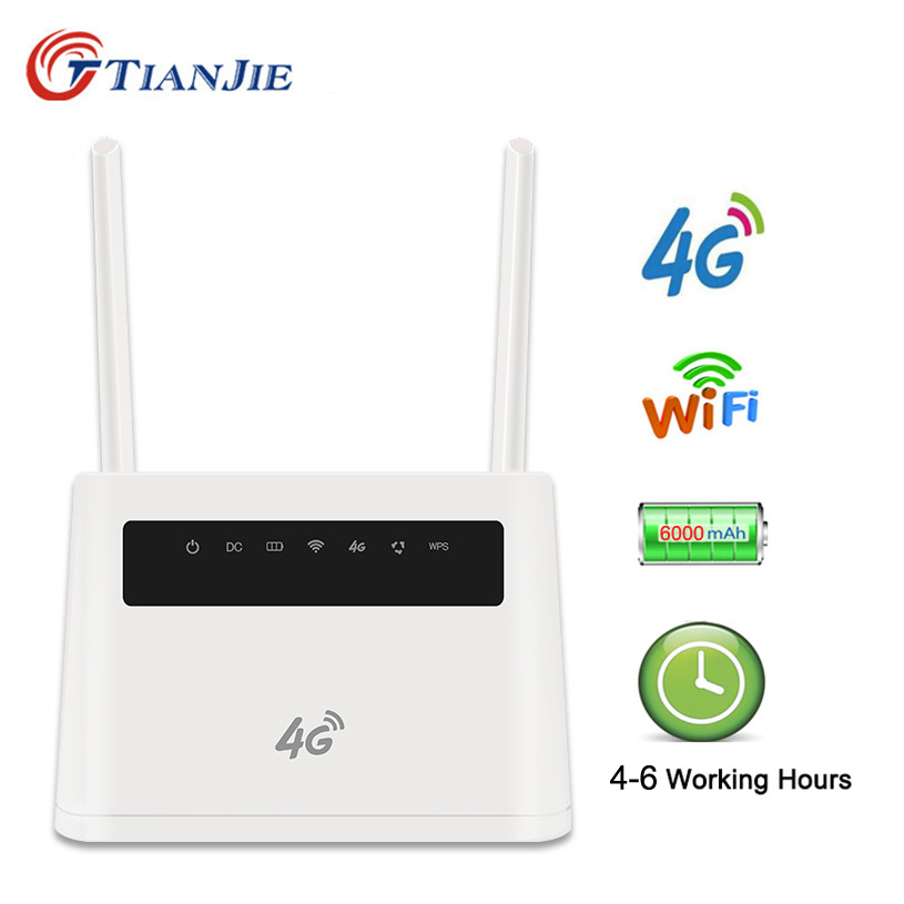 TianJie 4G Cpe Wifi Antenna Unlock Modem Mobile Wifi Hotspots Wireless Broadband with Sim card Slot with 6000mAh Battery image