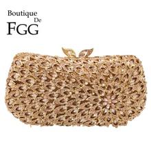 Boutique De FGG Hollow Out Women Diamond Evening Bags Metal Minaudiere Purses and Handbags Bridal Wedding Crystal Bag