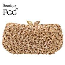 Boutique De FGG drążą kobiety diamentowe torby wieczorowe metalowe Minaudiere torebki i torebki ślubne kryształowa torba ślubna