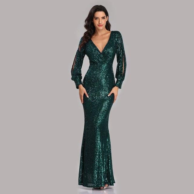 فستان سهرة جديد مثير بحورية البحر ذو رقبة على شكل V فستان رسمي طويل للحفلات الراقصة كامل الترتر طويل الأكمام 2