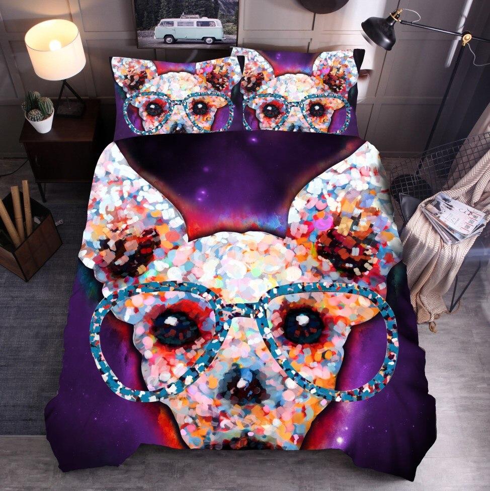 Cartoon enfants literie 3D impression numérique animaux lit décoration housse de couette ensemble espace chien housse de couette adulte literie ensemble Twin