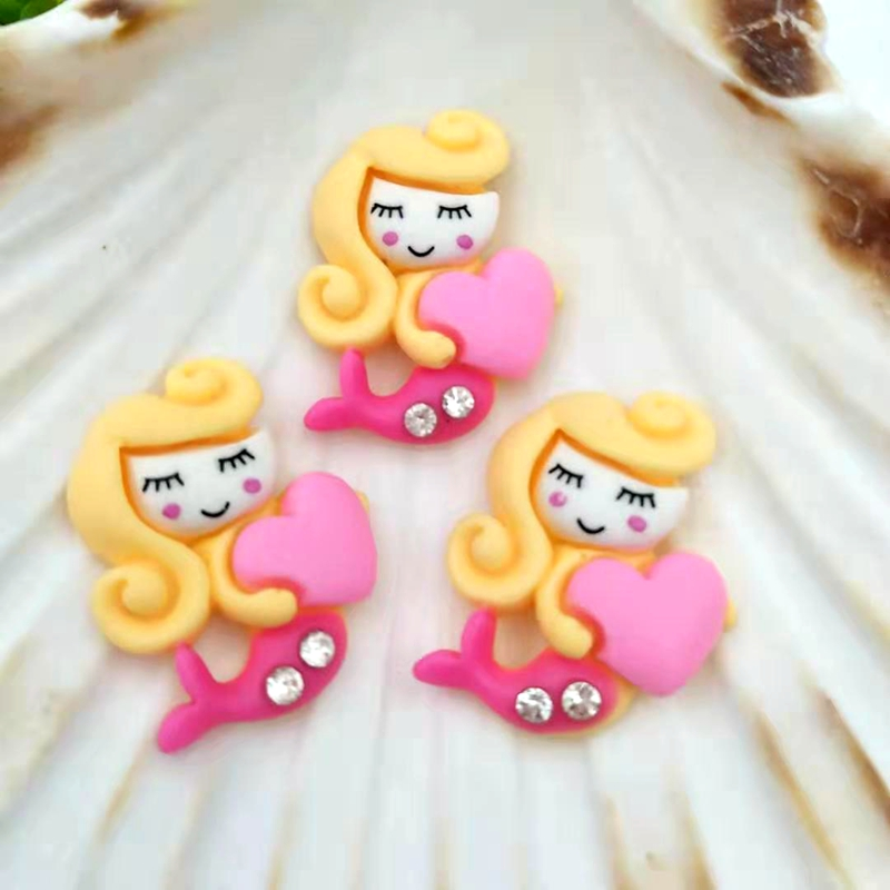 10pcs/lot  Point Drill Resin Mermaid  Flat Back For Scrapbooking Cabochons Embellishments Accessories DIY Hair Bows Center