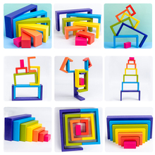 Building-Blocks Wooden-Toys Rainbow-House Montessori Christmas-Gifts Early-Educational