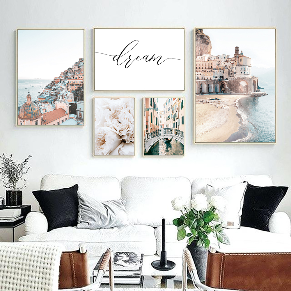 Italy-Amalfi-Coast-Flower-Poster-Nature-Landscape-Print-Sea-Beach-Dream-Quote-Canvas-Art-Painting-Seascape