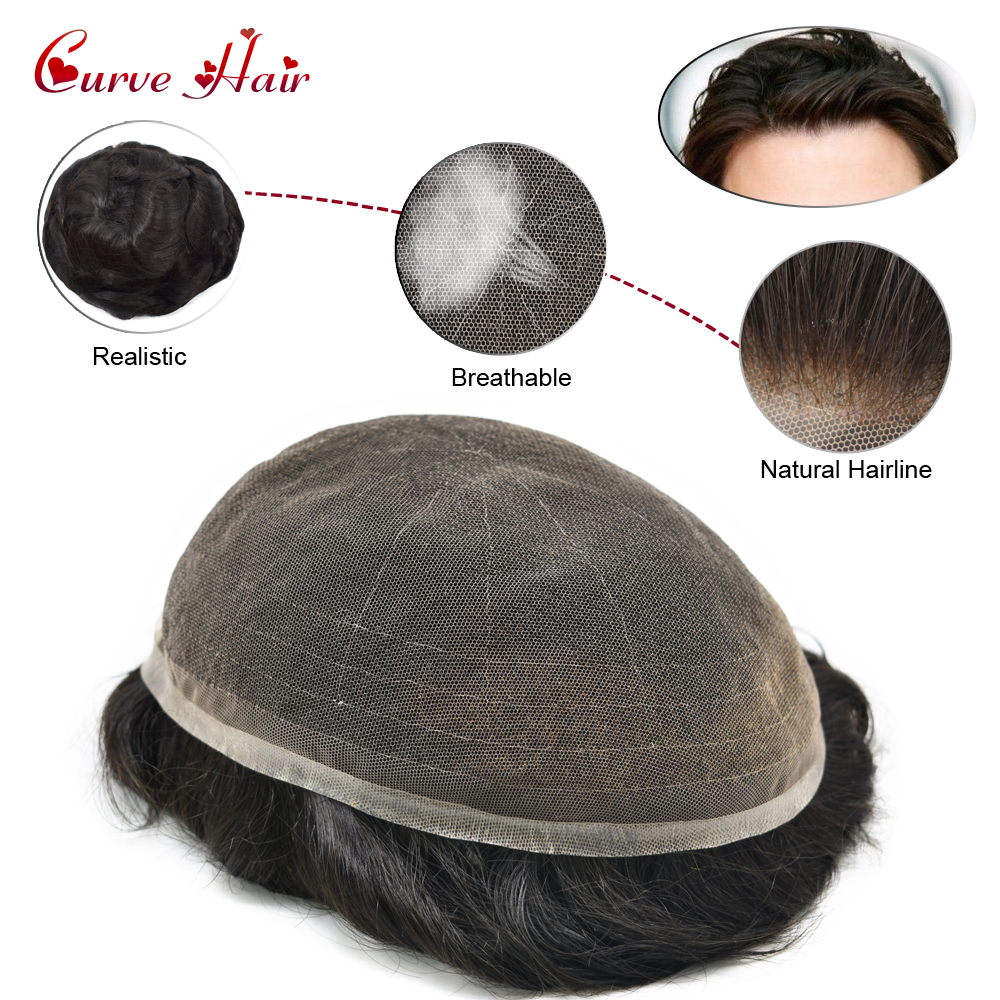 Full Lace Hair Toupee For Men 1B Off Black 130% Medium Density Bleached Knot Natural Hairline Full French Lace Mens Hair Pieces