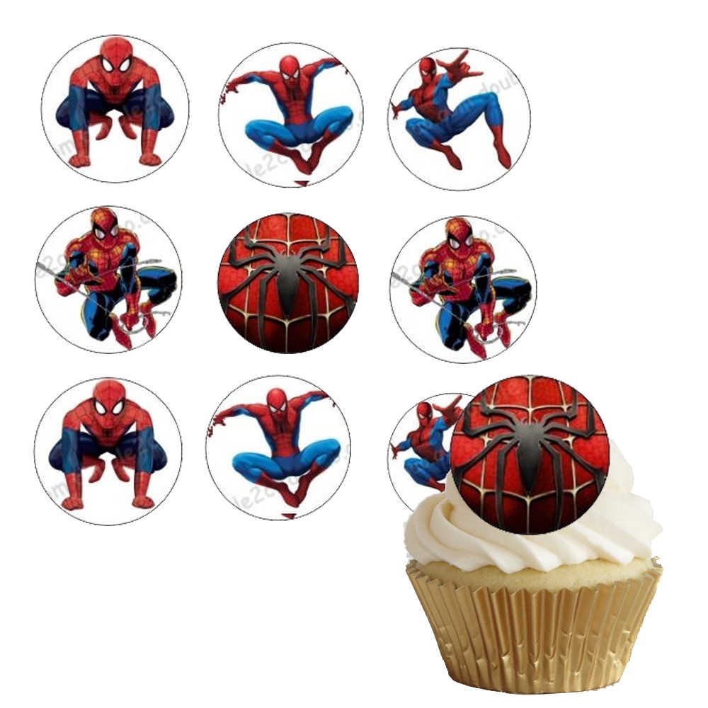 Strange 35Pcs Lot Edible Wafer Paper Spiderman For Cup Cake Topper Icing Funny Birthday Cards Online Unhofree Goldxyz