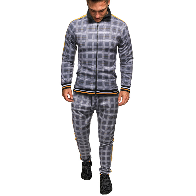 Men's Tracksuit Spring Autumn Fashion Checked Tracksuit Casual Two Piece Set Men's Sports Suit 2020 Men's Clothing