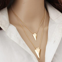 Multilayer Punk Triangle Arrow Pendant Necklace for Women Female All-match Metal Geometric Sweater Necklace Fashion Jewelry Gift metal triangle pendant necklace