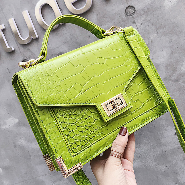 Brand Designer Luxury Leather Bag Women Handbag High Quality Croco Patter Small Tote Shoulder Messenger Bag Lady Sac Purse Green