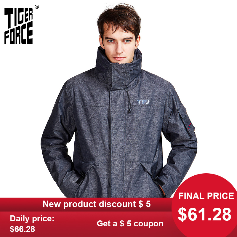 TIGER FORCE 2020 New Arriva Spring Autumn  Sport Jacket With A Hood Casual Men Jackets And Coats With  Zipper Warm Clothes 50612