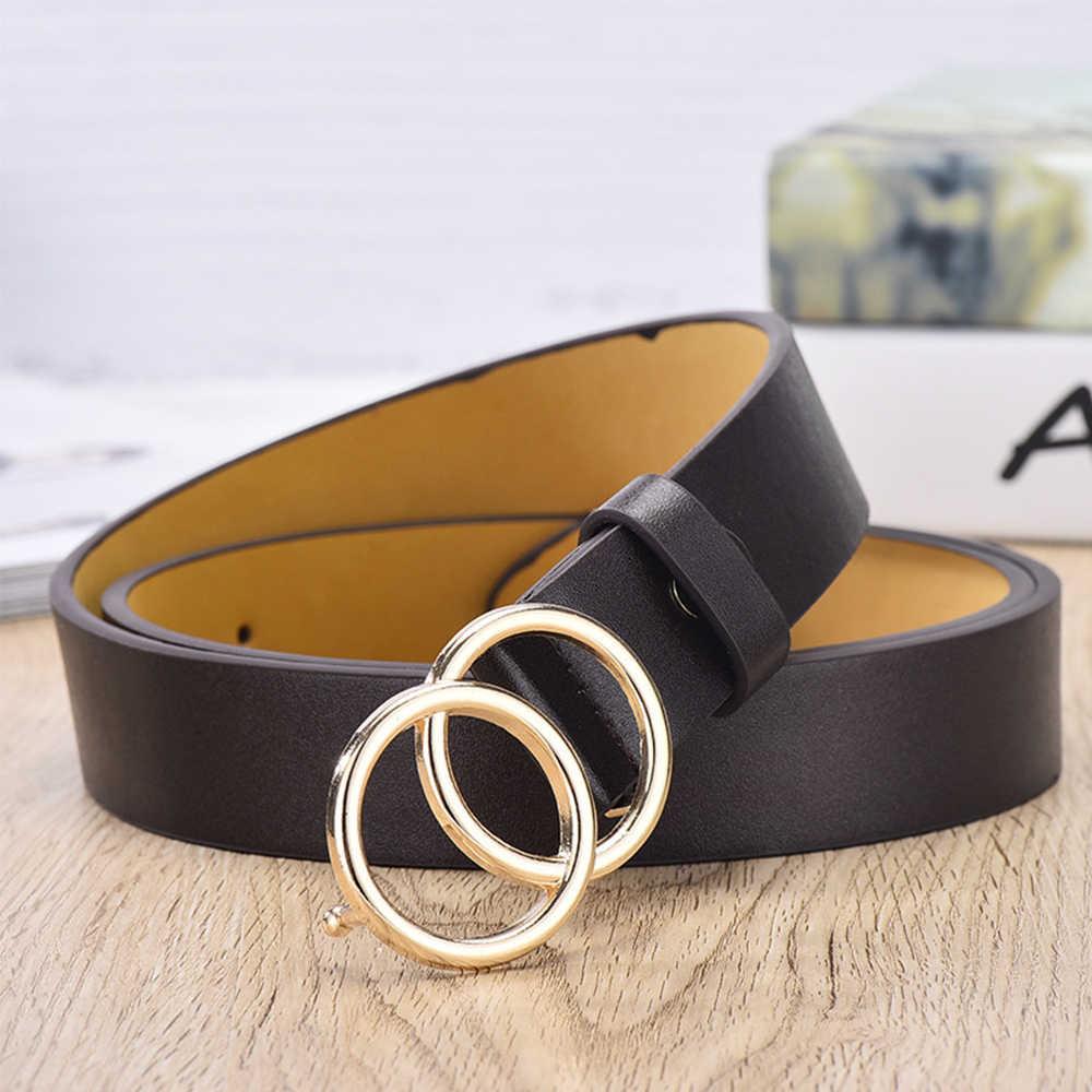 105cm damskie podwójne okrągłe złoty Metal paski ze sprzączką 2019 moda PU skóra regulowana talia pasy Jeans Dress Casual talia