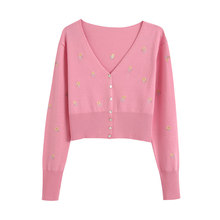 Sweet Floral Embroidery Crop Knitted Cardigan Sweater Women Single-breasted Long Sleeve Female Outerwear Chic Pink Tops()
