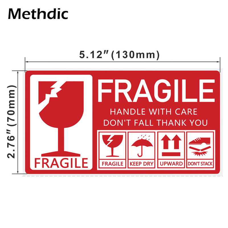 Methdic 130x70mm 250pcs Packaging Fragile Label Stickers Fragile Sticker Up and Handle With Care Keep Dry Shipping Express Label