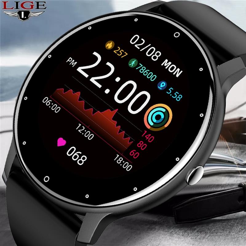 LIGE 2021 Новый смарт-часы для мужчин полный сенсорный Экран Спорт Фитнес часы IP67 Водонепроницаемый Bluetooth для Android ios смарт-часы для мужчин + коробка 1