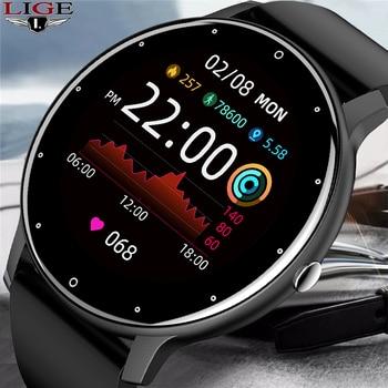 LIGE 2021 New Smart Watch Men Full Touch Screen Sport Fitness Watch IP67 Waterproof Bluetooth For Android ios smartwatch Men+box 1
