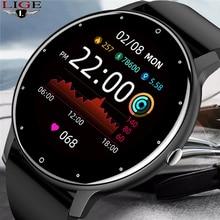 Lige 2021 novo relógio inteligente masculino tela de toque completa esporte fitness relógio ip67 à prova dip67 água bluetooth para android ios smartwatch masculino + caixa