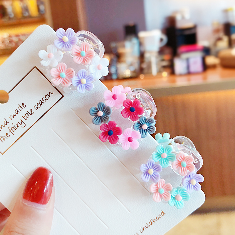 2020 Children Cute Candy Acrylic Flower Small Hair Claws Girls Lovely Transparent Small Claw Clamp Hairpins KidHair Accessories