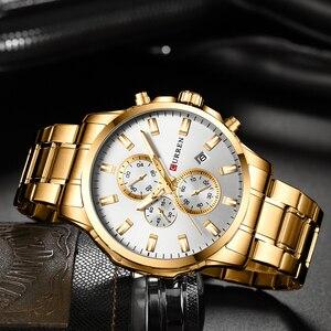 Image 4 - CURREN Men Luxury Brand Quartz Watch Military Watch Fashion Causal Chronograph Clock Stainless Steel Wristwatch Montre Homme