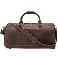 MAHEU 50cm Vintage Leder Reisetasche für männer Leder Weekender Tasche Übernachtung Reisen Handtasche Crazy Horse Leder duffle tasche