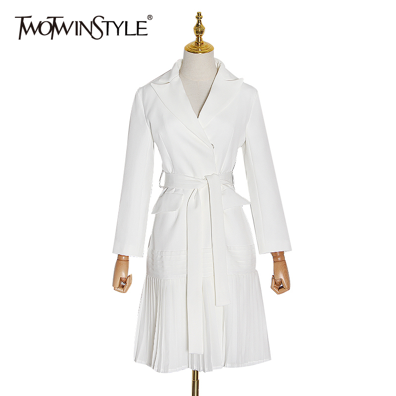 TWOTWINSTYLE White Windbreaker For Women Notched Long Sleeve High Waist With Sashes Female Windbreakers 2020 Spring Fashion New