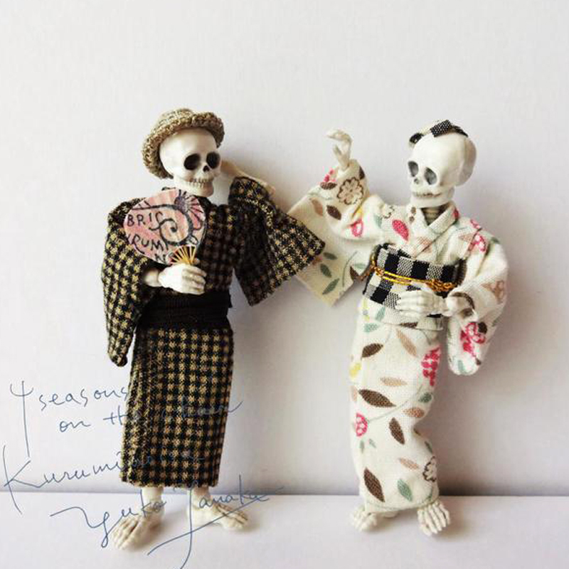 Domestic Re-ment food play Skull man series Joint movable <font><b>pose</b></font> <font><b>skeleton</b></font> Action Figure model doll image