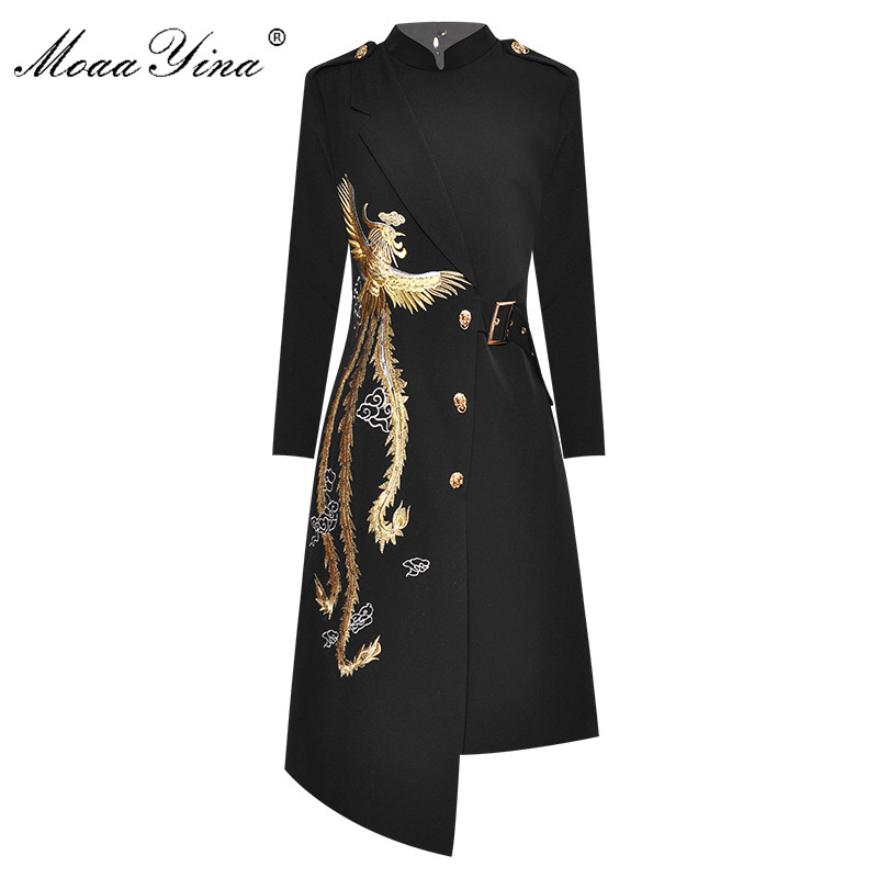 MoaaYina Fashion Designer Dress Spring Autumn Women's Dress  Stand Collar Embroidery Elegant Asymmetrical Dresses