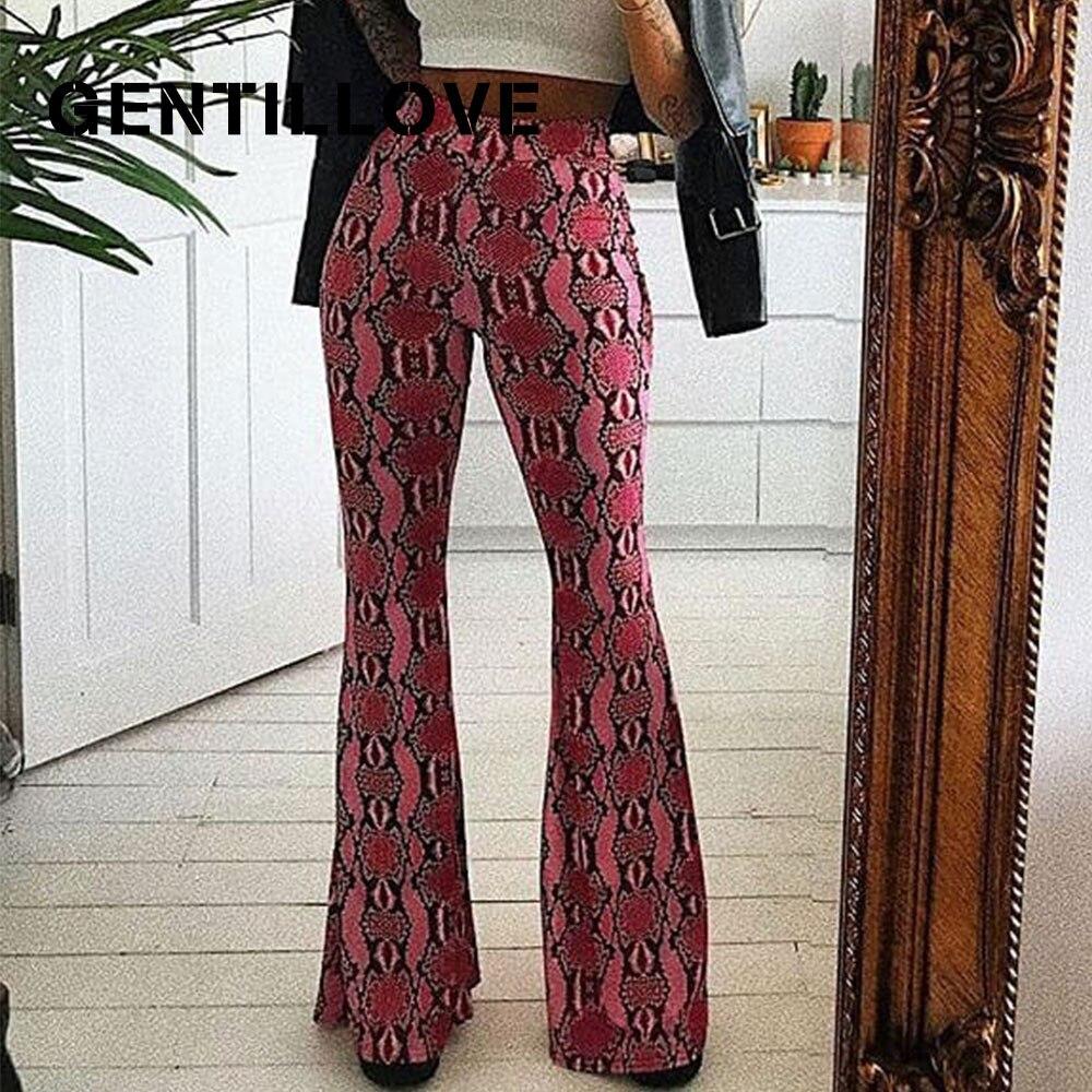 Gentillove Women Snake Pattern Neon Green Piink   Wide     Leg     Pants   Sexy Flare Snakeskin Bottom Stretch High Waist   Pants   2019 New