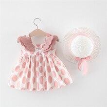 Милые платья для маленьких девочек с шапкой; комплект одежды из 2 предметов; детская одежда; детское платье принцессы без рукавов для дня рождения; платье с цветочным принтом