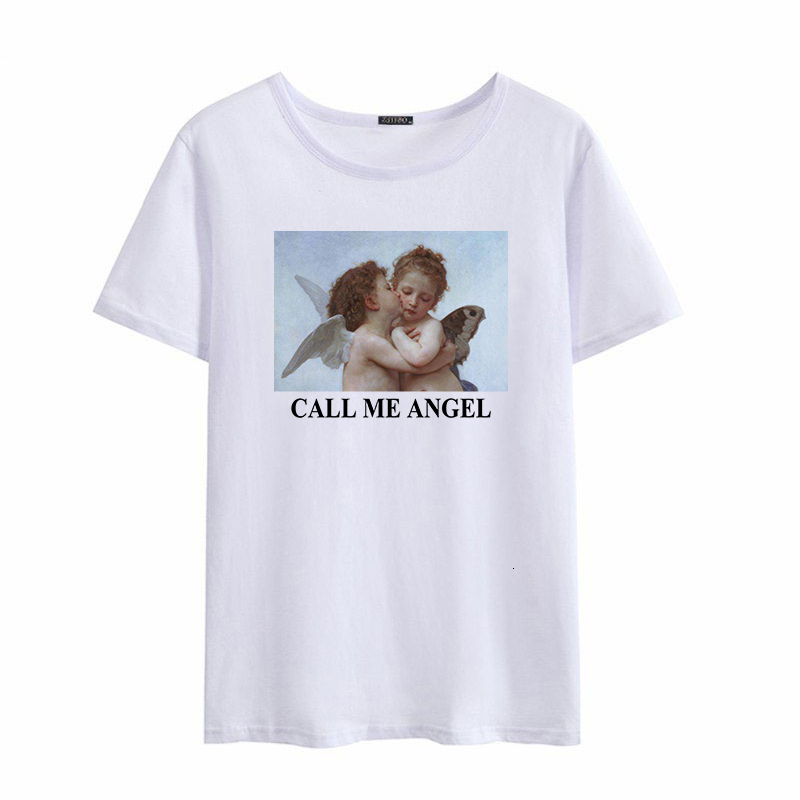 CALL MY ANGEL Tshrits Men Women's Short Sleeve Vintage Cartoon Art Print Loose Casual Tops Tees O-Neck Women T-Shirt Male