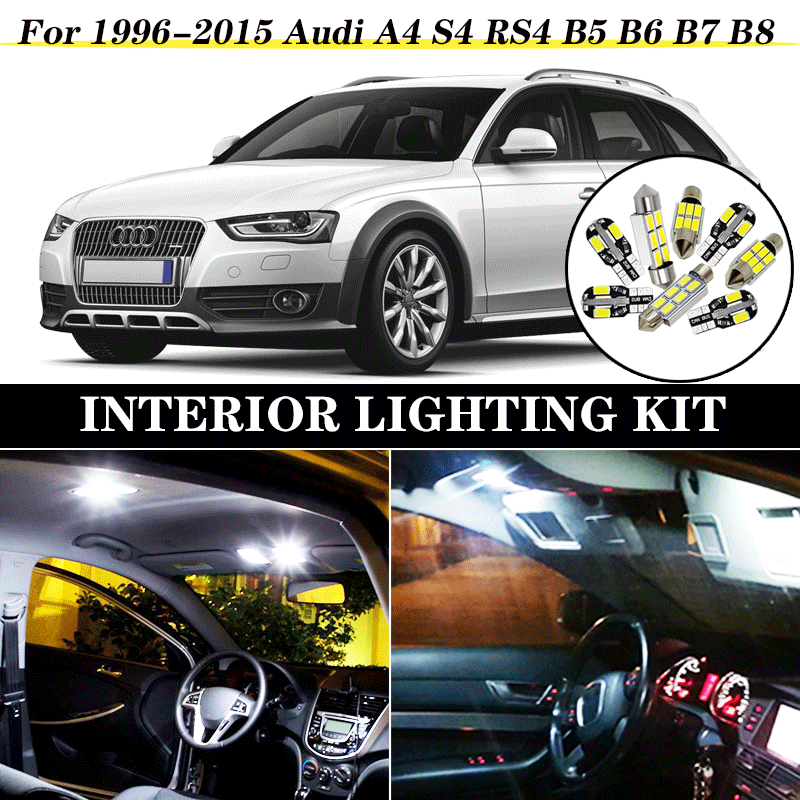 Perfect White Canbus Error Free <font><b>LED</b></font> bulb interior dome map overhead light Kit for 1996-2015 <font><b>Audi</b></font> <font><b>A4</b></font> S4 RS4 <font><b>B5</b></font> B6 B7 B8 image