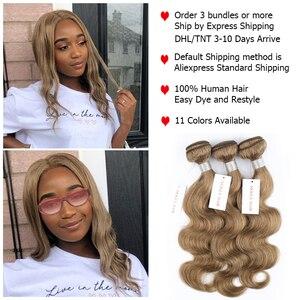 Image 2 - Mogul Haar Kleur 8 Ash Blonde Kleur 27 Honing Blonde Indian Lichaam Wave Haar Weave Bundels 2/3/4 Bundels remy Human Hair Extension