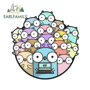 EARLFAMILY 13cm X 12.8cm for Golang DIY Motorcycle Car Stickers Vinyl Material Fashion Decals Vinyl Car Wrap Graffiti Decal