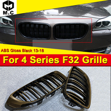F32 2 door Hard top Front Grille ABS Gloss Black For BMW 2-Slats M-Style 420i 428i 430i 435i Kidney 13+