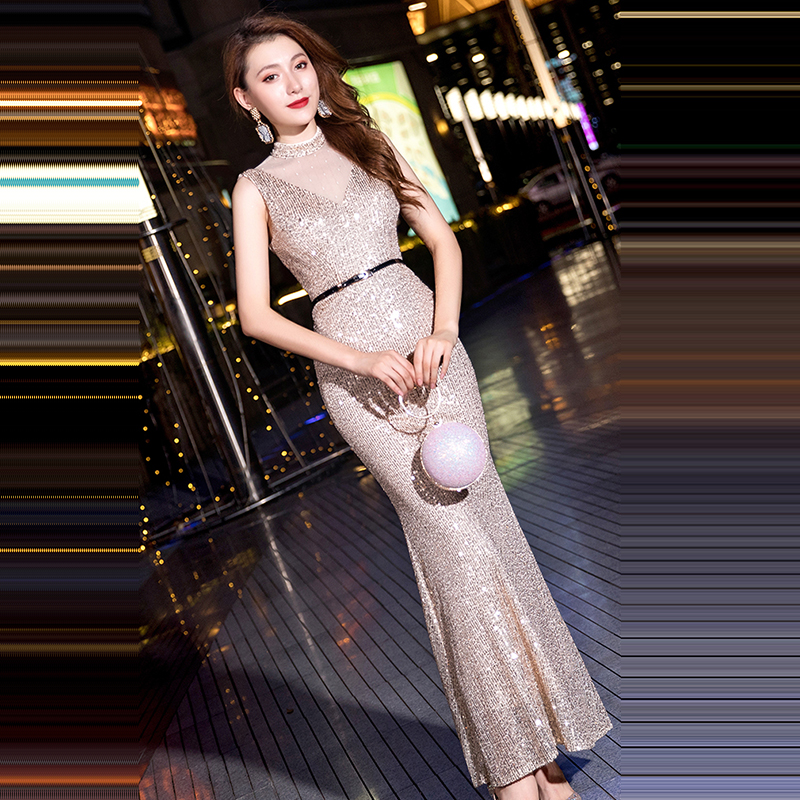 Sexy Slim Formal Gowns Long Women Party Dresses K129 O-Neck Sleeveless Robe De Soiree Champagne Elegant Sequined Evening Dresses